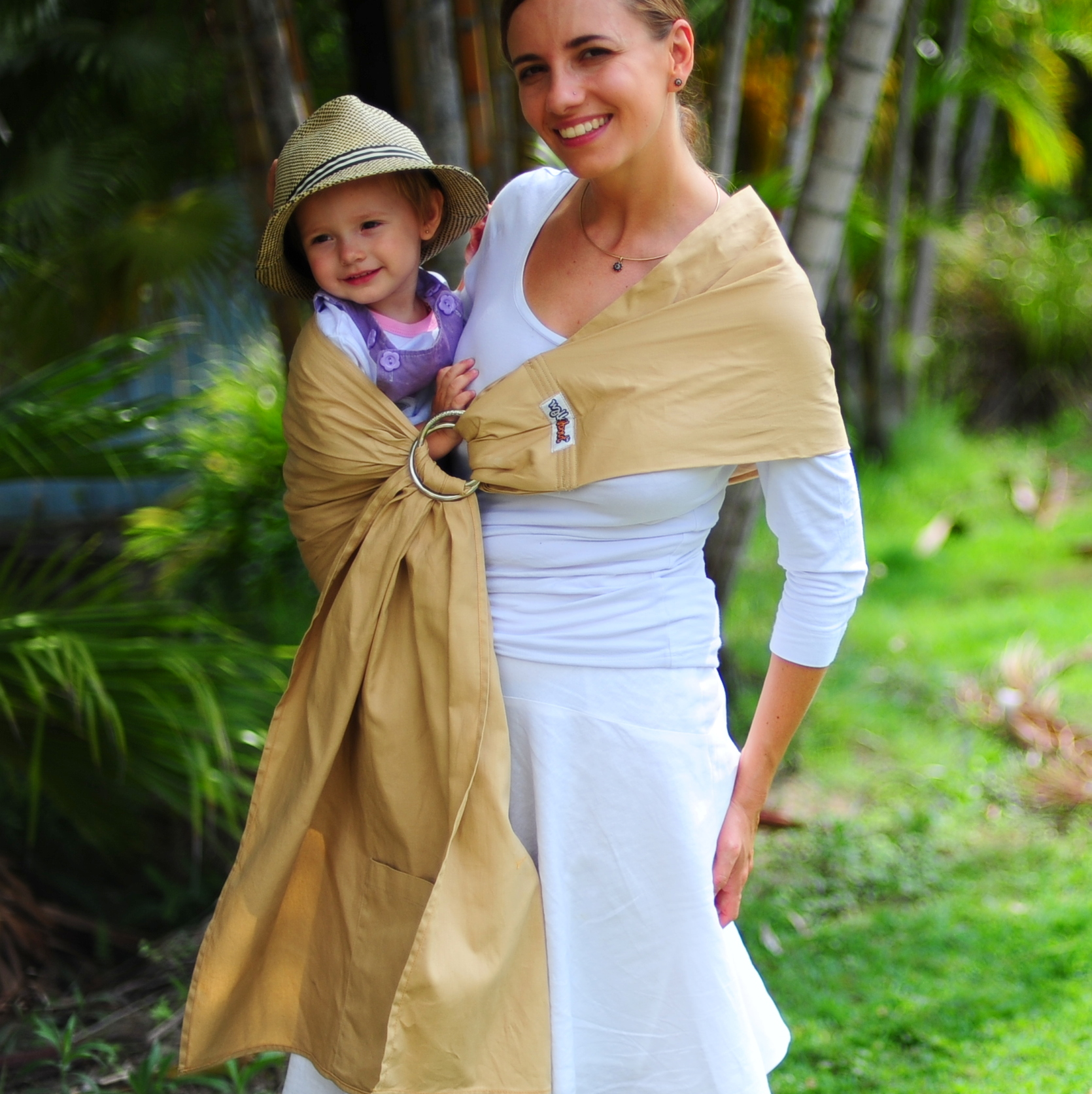 WALKABOUT Baby Child Sling Ring Carrier Wrap Pouch Latte Cotton AUSTRALIAN BRAND